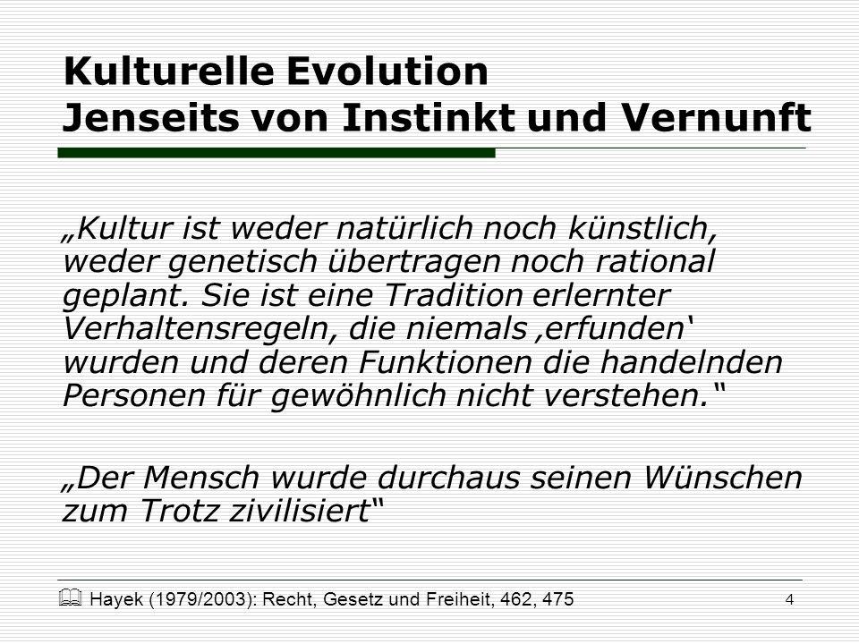 4 Kulturelle Evolution Jenseits von Instinkt und Vernunft Kultur ist weder natürlich noch künstlich, weder genetisch übertragen noch rational geplant.