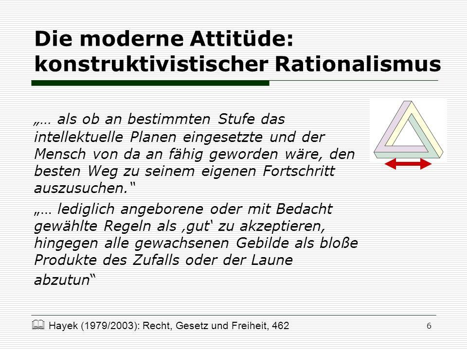 6 Die moderne Attitüde: konstruktivistischer Rationalismus … als ob an bestimmten Stufe das intellektuelle Planen eingesetzte und der Mensch von da an