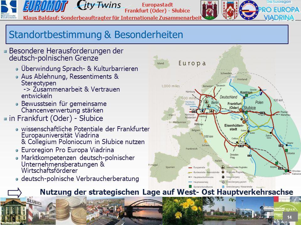 14 Europastadt Frankfurt (Oder) - Słubice Klaus Baldauf: Sonderbeauftragter für Internationale Zusammenarbeit Besondere Herausforderungen der deutsch-