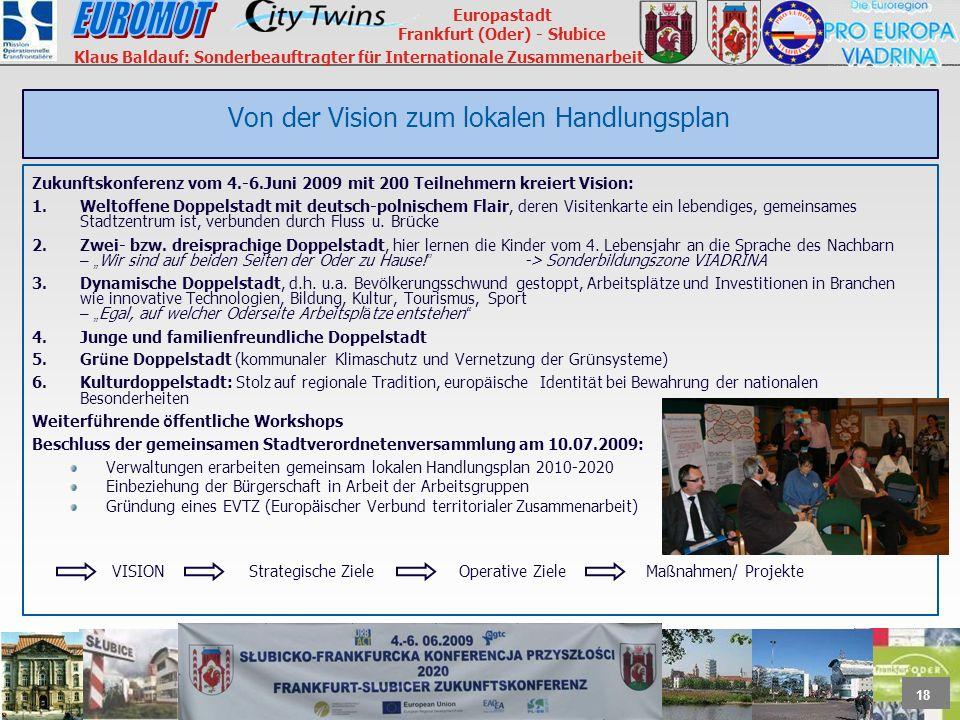 18 Europastadt Frankfurt (Oder) - Słubice Klaus Baldauf: Sonderbeauftragter für Internationale Zusammenarbeit Von der Vision zum lokalen Handlungsplan