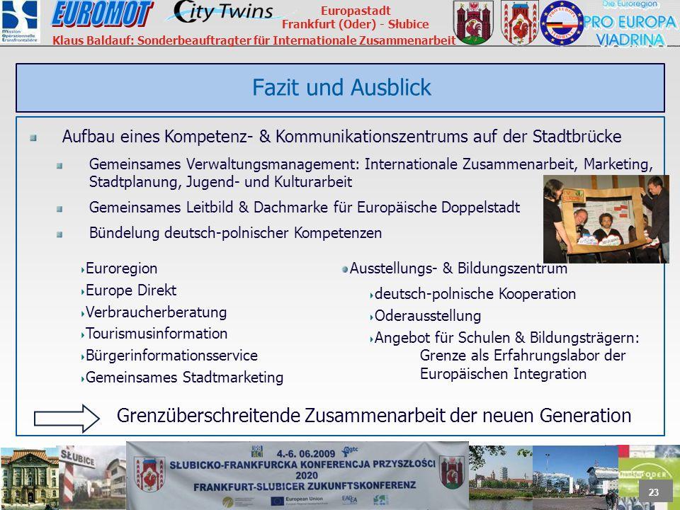 23 Europastadt Frankfurt (Oder) - Słubice Klaus Baldauf: Sonderbeauftragter für Internationale Zusammenarbeit Fazit und Ausblick Aufbau eines Kompeten