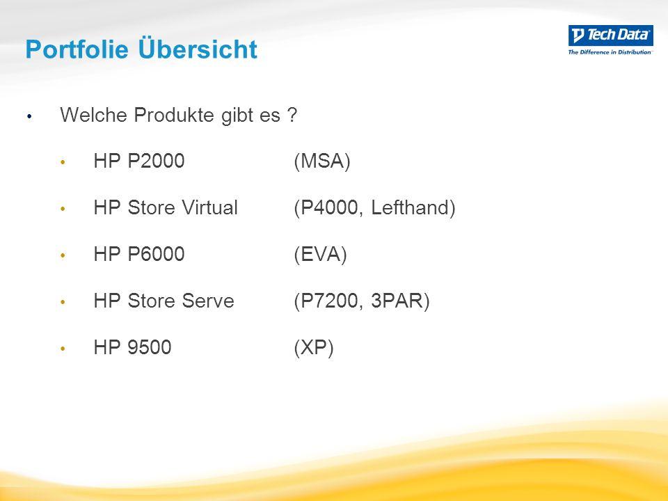 HP Speicherlösungen P2000 < 1.13 PB FC P9500 P6000 < 48 TB FC 3 Gb SAS, 1 & 10GbE iSCSI < 324 TB FC 1 GbE iSCSI P4000 < 960 TB 1 & 10GbE iSCSI FC P7200& P10000 < 800 TB 1 & 10GbE iSCSI FC