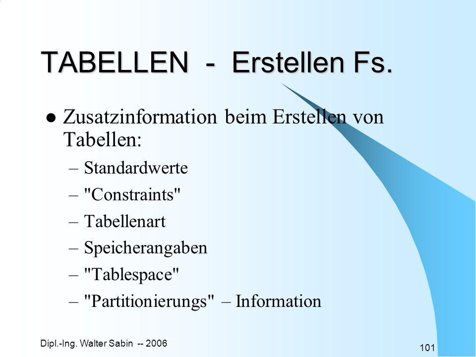 Dipl.-Ing. Walter Sabin -- 2006 101 TABELLEN - Erstellen Fs. Zusatzinformation beim Erstellen von Tabellen: –Standardwerte –