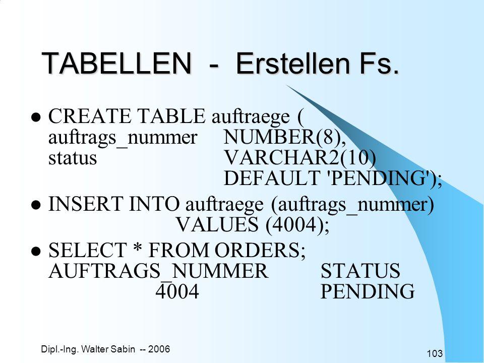 Dipl.-Ing. Walter Sabin -- 2006 103 TABELLEN - Erstellen Fs. CREATE TABLE auftraege ( auftrags_nummer NUMBER(8), statusVARCHAR2(10) DEFAULT 'PENDING')