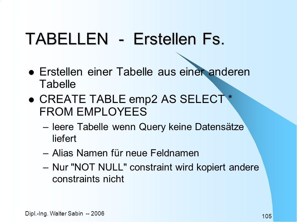 Dipl.-Ing. Walter Sabin -- 2006 105 TABELLEN - Erstellen Fs. Erstellen einer Tabelle aus einer anderen Tabelle CREATE TABLE emp2 AS SELECT * FROM EMPL