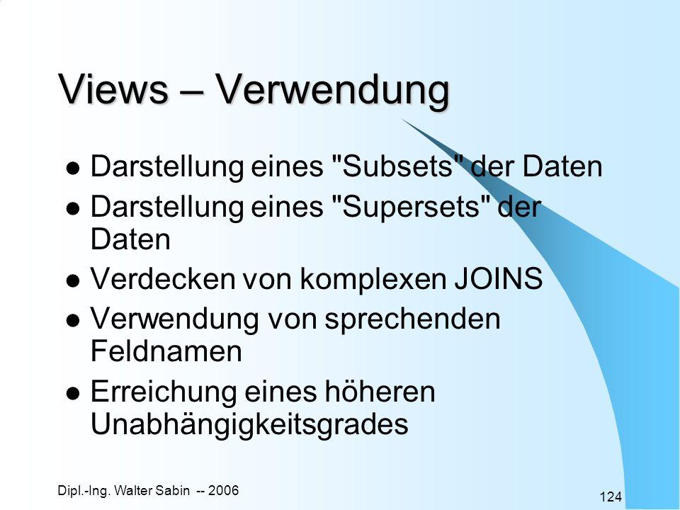 Dipl.-Ing. Walter Sabin -- 2006 124 Views – Verwendung Darstellung eines
