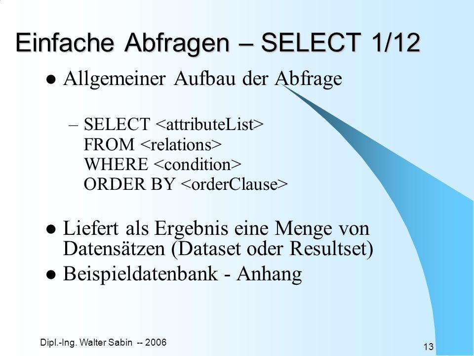 Dipl.-Ing. Walter Sabin -- 2006 13 Einfache Abfragen – SELECT 1/12 Allgemeiner Aufbau der Abfrage –SELECT FROM WHERE ORDER BY Liefert als Ergebnis ein