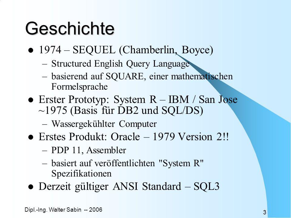 Dipl.-Ing. Walter Sabin -- 2006 3 Geschichte 1974 – SEQUEL (Chamberlin, Boyce) –Structured English Query Language –basierend auf SQUARE, einer mathema