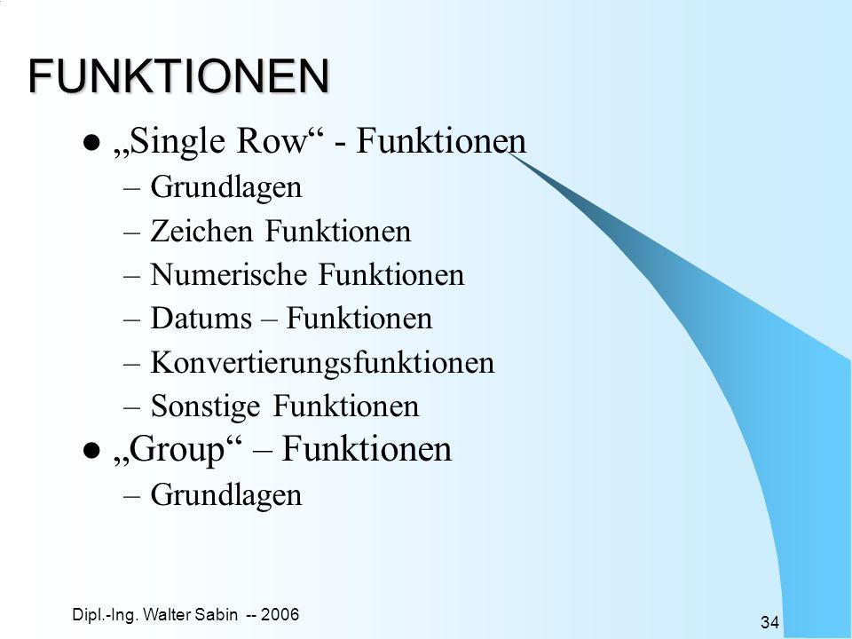 Dipl.-Ing. Walter Sabin -- 2006 34 FUNKTIONEN Single Row - Funktionen –Grundlagen –Zeichen Funktionen –Numerische Funktionen –Datums – Funktionen –Kon