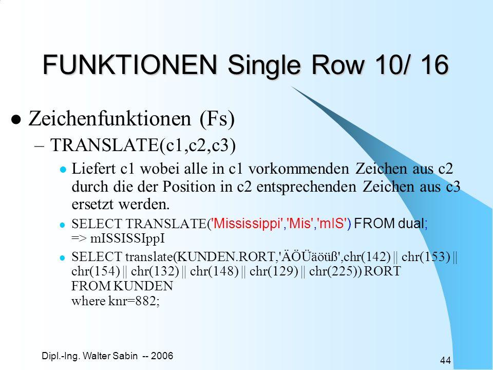 Dipl.-Ing. Walter Sabin -- 2006 44 FUNKTIONEN Single Row 10/ 16 Zeichenfunktionen (Fs) –TRANSLATE(c1,c2,c3) Liefert c1 wobei alle in c1 vorkommenden Z