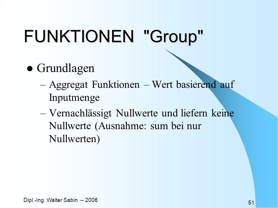 Dipl.-Ing. Walter Sabin -- 2006 51 FUNKTIONEN