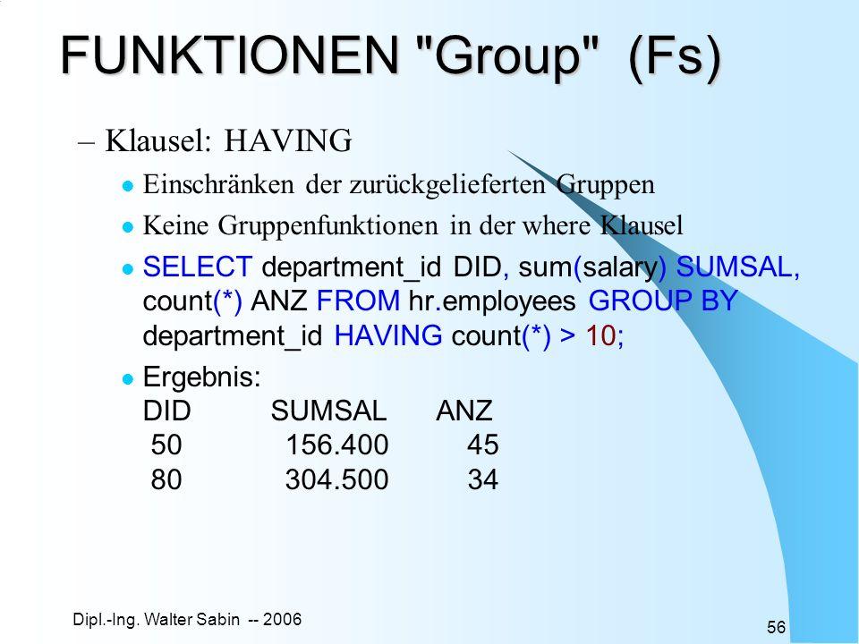 Dipl.-Ing. Walter Sabin -- 2006 56 FUNKTIONEN