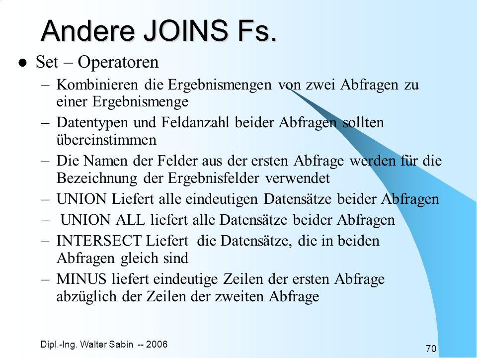 Dipl.-Ing. Walter Sabin -- 2006 70 Andere JOINS Fs. Set – Operatoren –Kombinieren die Ergebnismengen von zwei Abfragen zu einer Ergebnismenge –Datenty