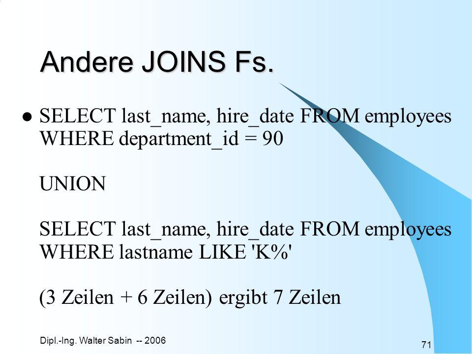 Dipl.-Ing.Walter Sabin -- 2006 71 Andere JOINS Fs.