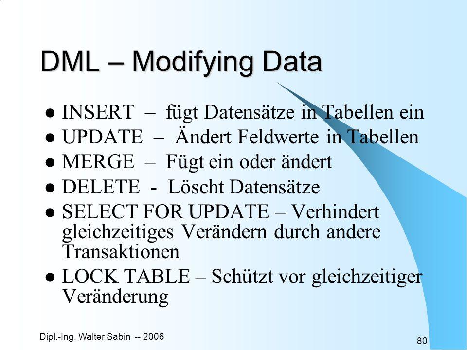 Dipl.-Ing. Walter Sabin -- 2006 80 DML – Modifying Data INSERT – fügt Datensätze in Tabellen ein UPDATE – Ändert Feldwerte in Tabellen MERGE – Fügt ei
