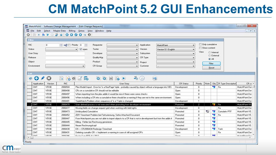 CM MatchPoint 5.2 GUI Enhancements