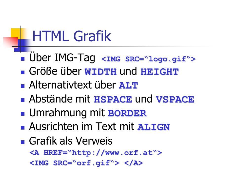 HTML Grafik Über IMG-Tag WIDTHHEIGHT Größe über WIDTH und HEIGHT ALT Alternativtext über ALT HSPACEVSPACE Abstände mit HSPACE und VSPACE BORDER Umrahm