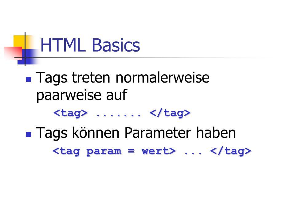 HTML Basics Tags treten normalerweise paarweise auf.............. Tags können Parameter haben......