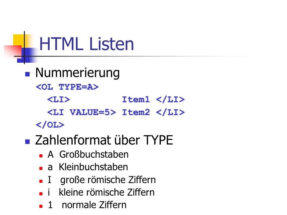 HTML Listen Nummerierung Item1 Item1 Item2 Item2 Zahlenformat über TYPE A Großbuchstaben a Kleinbuchstaben I große römische Ziffern i kleine römische