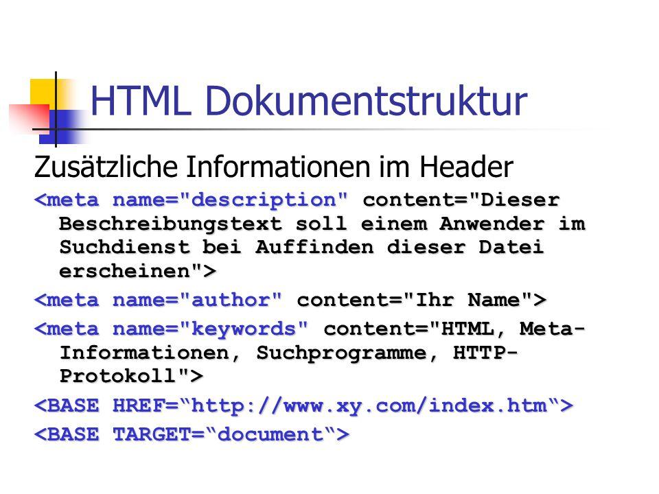 HTML Dokumentstruktur Zusätzliche Informationen im Header