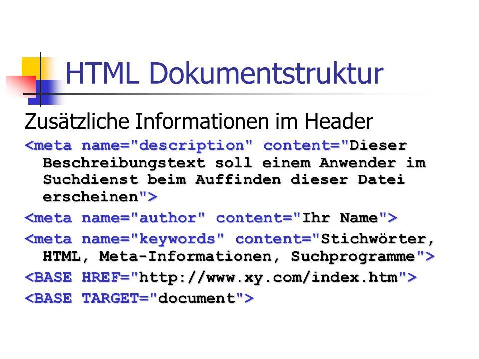 HTML Body Parameter Hintergrundgrafik Hintergrundfarbe Textfarbe Linkfarben