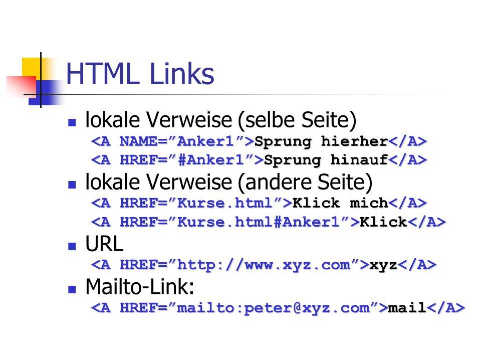 HTML Links lokale Verweise (selbe Seite) Sprung hierher Sprung hierher Sprung hinauf Sprung hinauf lokale Verweise (andere Seite) Klick mich Klick mic