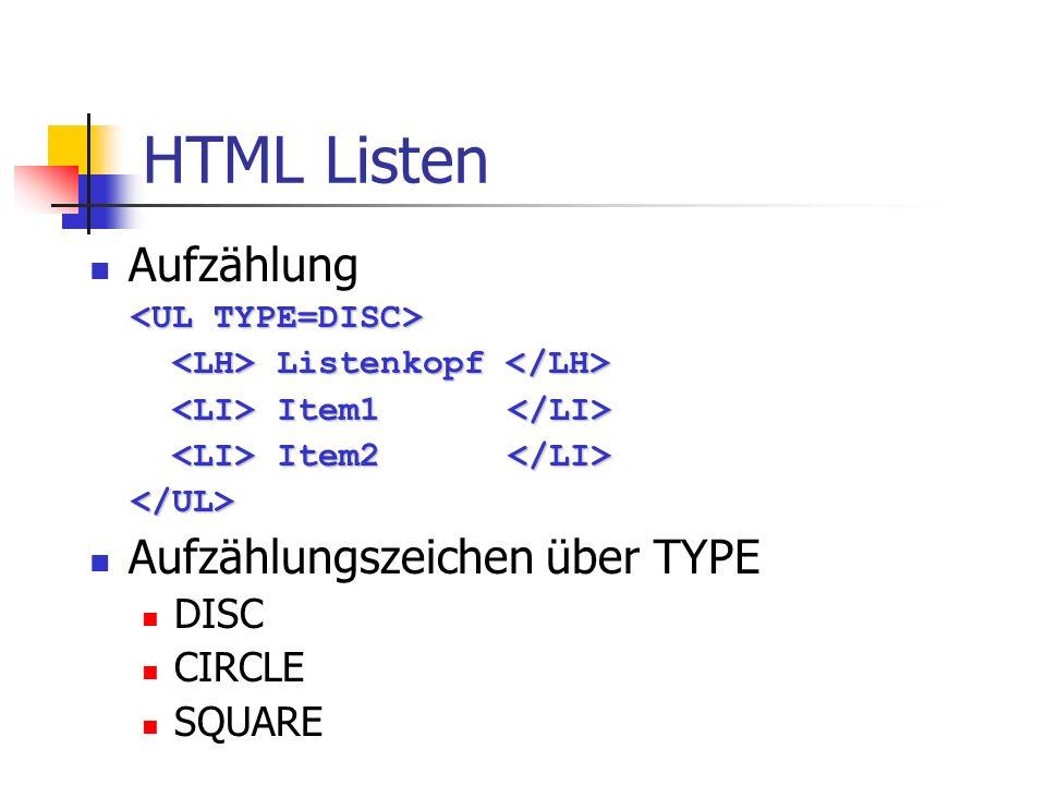 HTML Listen Aufzählung Listenkopf Listenkopf Item1 Item1 Item2 Item2 Aufzählungszeichen über TYPE DISC CIRCLE SQUARE