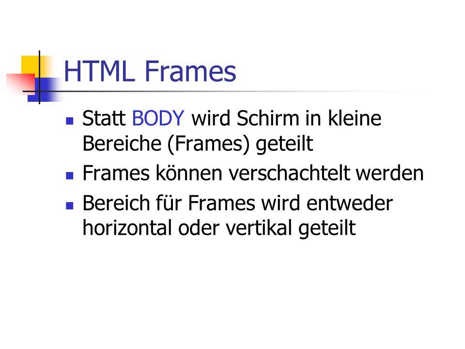 HTML Frames Statt BODY wird Schirm in kleine Bereiche (Frames) geteilt Frames können verschachtelt werden Bereich für Frames wird entweder horizontal