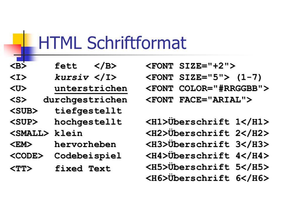 HTML Schriftformat fett fett kursiv kursiv unterstrichen unterstrichen durchgestrichen durchgestrichen tiefgestellt tiefgestellt hochgestellt hochgest