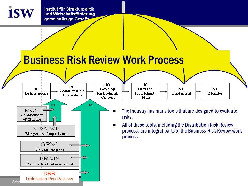 Institut für Strukturpolitik und Wirtschaftsförderung gemeinnützige Gesellschaft mbH Seite 11 www.isw-institut.de 04.11.2010 Distribution Risk Management: Business Risk Review Work Process n The industry has many tools that are designed to evaluate risks.