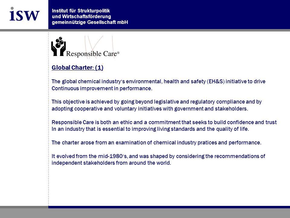 Institut für Strukturpolitik und Wirtschaftsförderung gemeinnützige Gesellschaft mbH Global Charter: (1) The global chemical industrys environmental, health and safety (EH&S) initiative to drive Continuous improvement in performance.