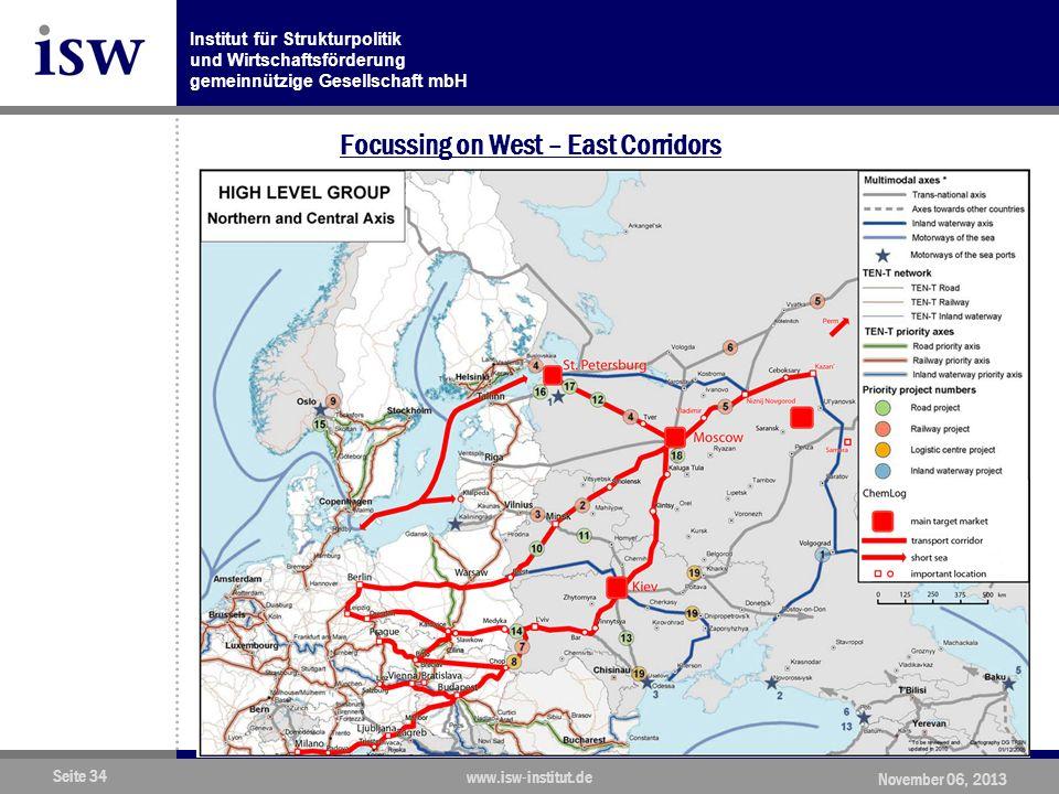 Institut für Strukturpolitik und Wirtschaftsförderung gemeinnützige Gesellschaft mbH Seite 34 www.isw-institut.de November 06, 2013 Focussing on West – East Corridors
