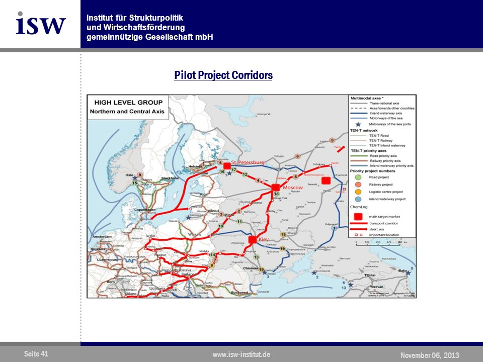 Institut für Strukturpolitik und Wirtschaftsförderung gemeinnützige Gesellschaft mbH Seite 41 www.isw-institut.de November 06, 2013 Pilot Project Corridors