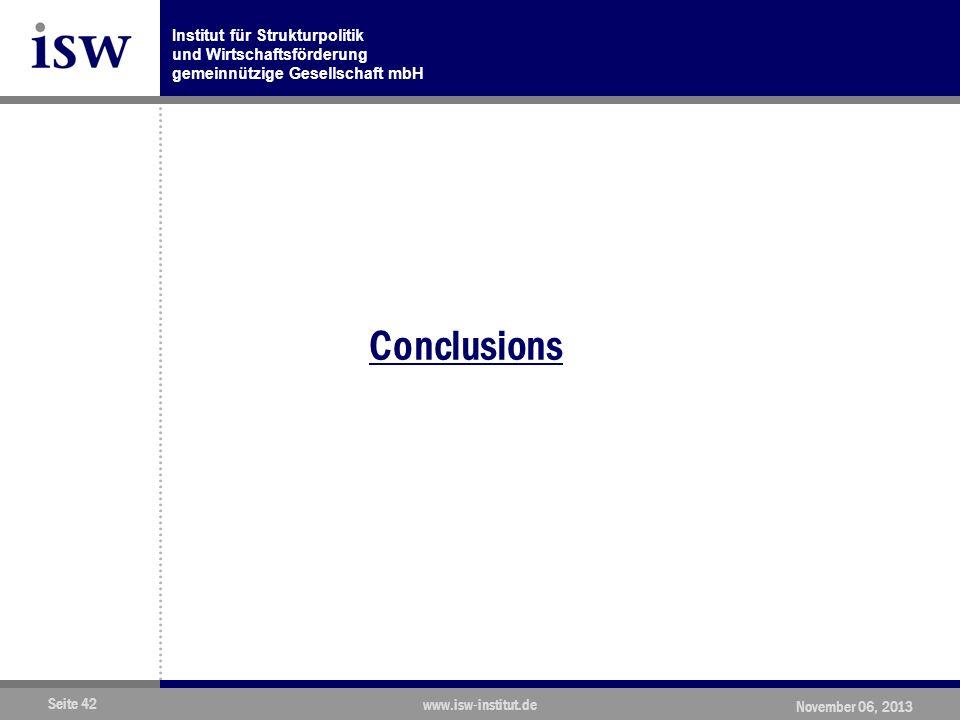 Institut für Strukturpolitik und Wirtschaftsförderung gemeinnützige Gesellschaft mbH Seite 42 www.isw-institut.de November 06, 2013 Conclusions