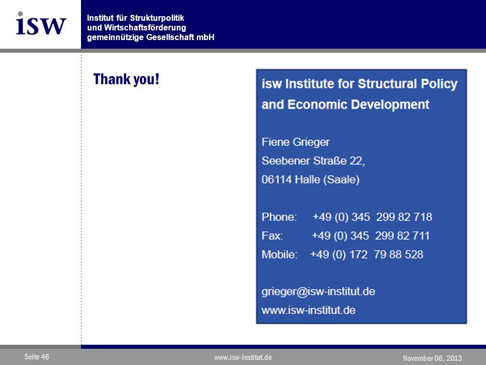 Institut für Strukturpolitik und Wirtschaftsförderung gemeinnützige Gesellschaft mbH Seite 46 www.isw-institut.de November 06, 2013 Thank you!