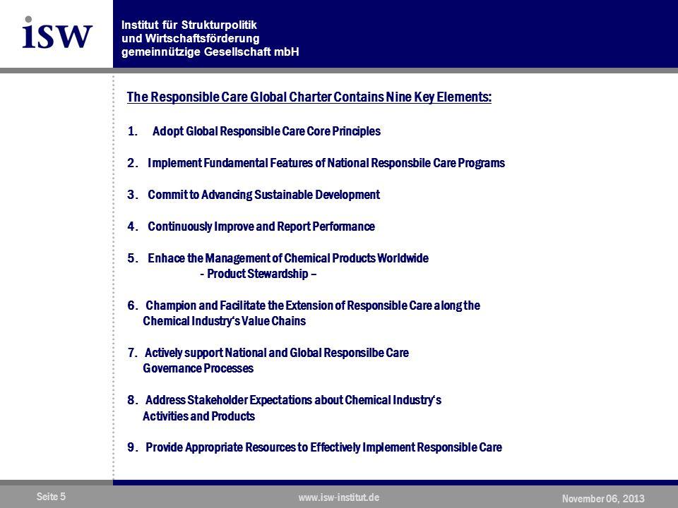 Institut für Strukturpolitik und Wirtschaftsförderung gemeinnützige Gesellschaft mbH Seite 5 www.isw-institut.de November 06, 2013 The Responsible Care Global Charter Contains Nine Key Elements: 1.Adopt Global Responsible Care Core Principles 2.