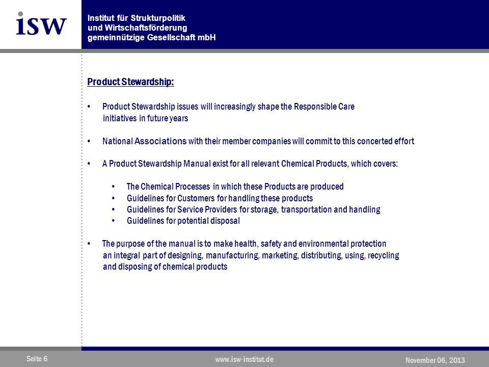 Institut für Strukturpolitik und Wirtschaftsförderung gemeinnützige Gesellschaft mbH Seite 27 www.isw-institut.de November 06, 2013 Source: CEFIC and Deloitte