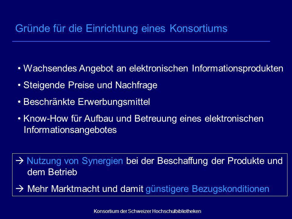 Voraussetzungen für die Gründung und den erfolgreichen Betrieb eines Konsortiums Bereitschaft zur Kooperation Finanzielle Mittel Gut funktionierende Organisationsstruktur Eigenleistungen der Bibliotheken Finanzielle Beiträge Nicht-finanzielle Beiträge Konsortium der Schweizer Hochschulbibliotheken