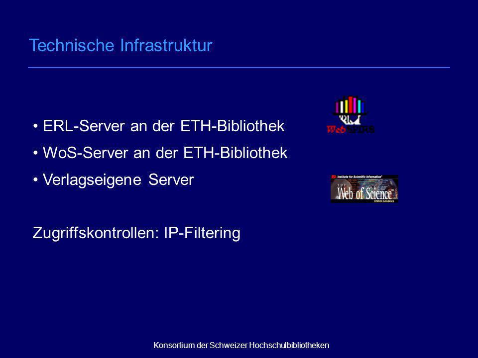 nationales Hochschul- und Forschungsnetz SWITCH ERL-Server an der ETH-Bibliothek OVID-Server in den USA Verlagseigene Server ERL-Server an der ETH-Bibliothek WoS-Server an der ETH-Bibliothek Verlagseigene Server Zugriffskontrollen: IP-Filtering Konsortium der Schweizer Hochschulbibliotheken Technische Infrastruktur