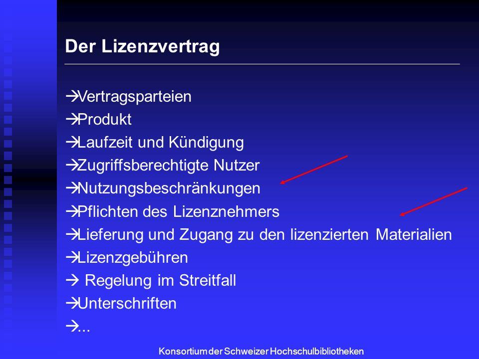 Konsortium der Schweizer Hochschulbibliotheken Nutzungsbeschränkungen e-Journals Interbibliothekarischer Leihverkehr - i.d.R.