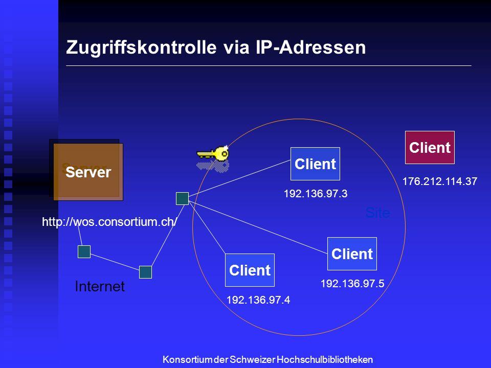 Server WoS Server WoS Client Site Internet 192.136.97.3 192.136.97.4 192.136.97.5 http://wos.consortium.ch/ Links verstehen Server Springer Server Springer Konsortium der Schweizer Hochschulbibliotheken