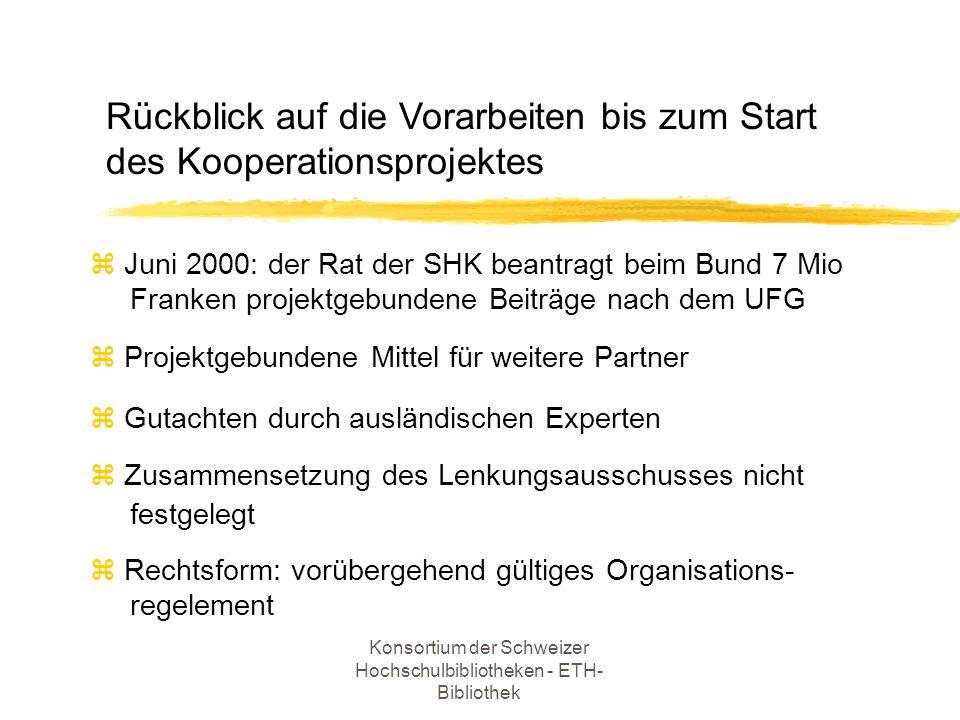 Konsortium der Schweizer Hochschulbibliotheken - ETH- Bibliothek z Schwerpunkt bildet die gesamtschweizerische Lizenzierung von Datenbankprodukten (Laufzeit ab 1.1.2001) z Lizenzierung von elekronischen Zeitschriften nur beschränkt möglich Ziele des Konsortiums bis Ende 2000
