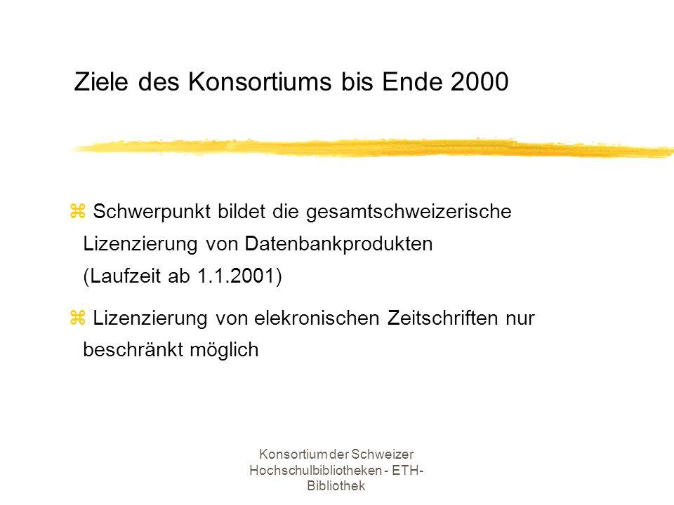 Konsortium der Schweizer Hochschulbibliotheken - ETH- Bibliothek z Koordination der gesamtschweizerischen Lizenzierung von Informationsprodukten z Einholen von Offerten und Führen der Lizenzverhandlungen in Zusammenarbeit mit derAgentur HuberInfoAccess in Bern z Verwaltung der projektgebundenen Mittel So arbeitet die Geschäftsstelle (I)