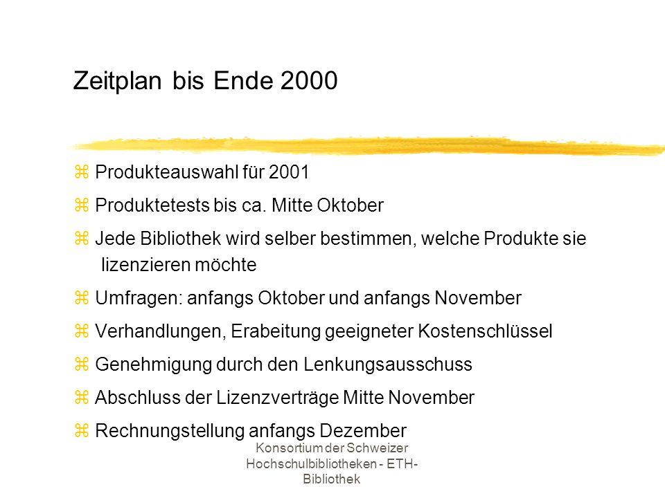 Konsortium der Schweizer Hochschulbibliotheken - ETH- Bibliothek z Produkteauswahl für 2001 z Produktetests bis ca. Mitte Oktober z Jede Bibliothek wi