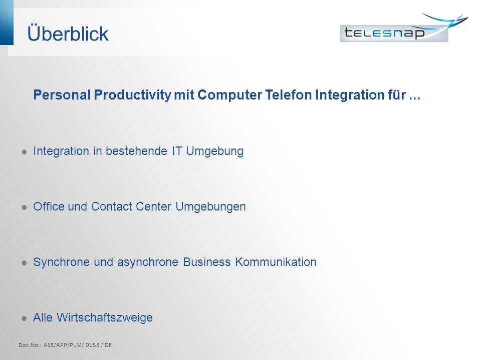 Überblick Personal Productivity mit Computer Telefon Integration für... Integration in bestehende IT Umgebung Office und Contact Center Umgebungen Syn