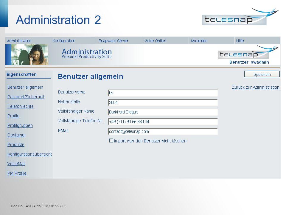 Administration 2 Doc.No.: ASE/APP/PLM/ 0155 / DE