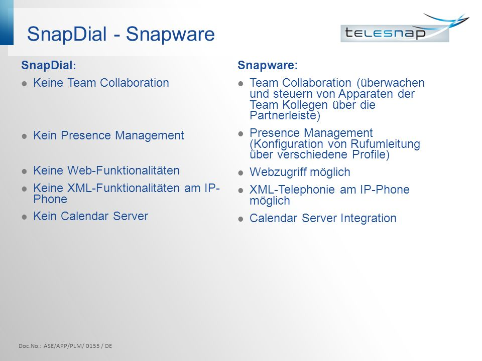SnapDial - Snapware SnapDial : Keine Team Collaboration Kein Presence Management Keine Web-Funktionalitäten Keine XML-Funktionalitäten am IP- Phone Ke