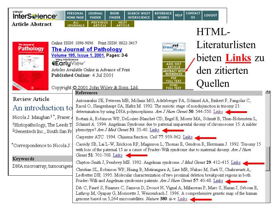 HTML- Literaturlisten bieten Links zu den zitierten Quellen