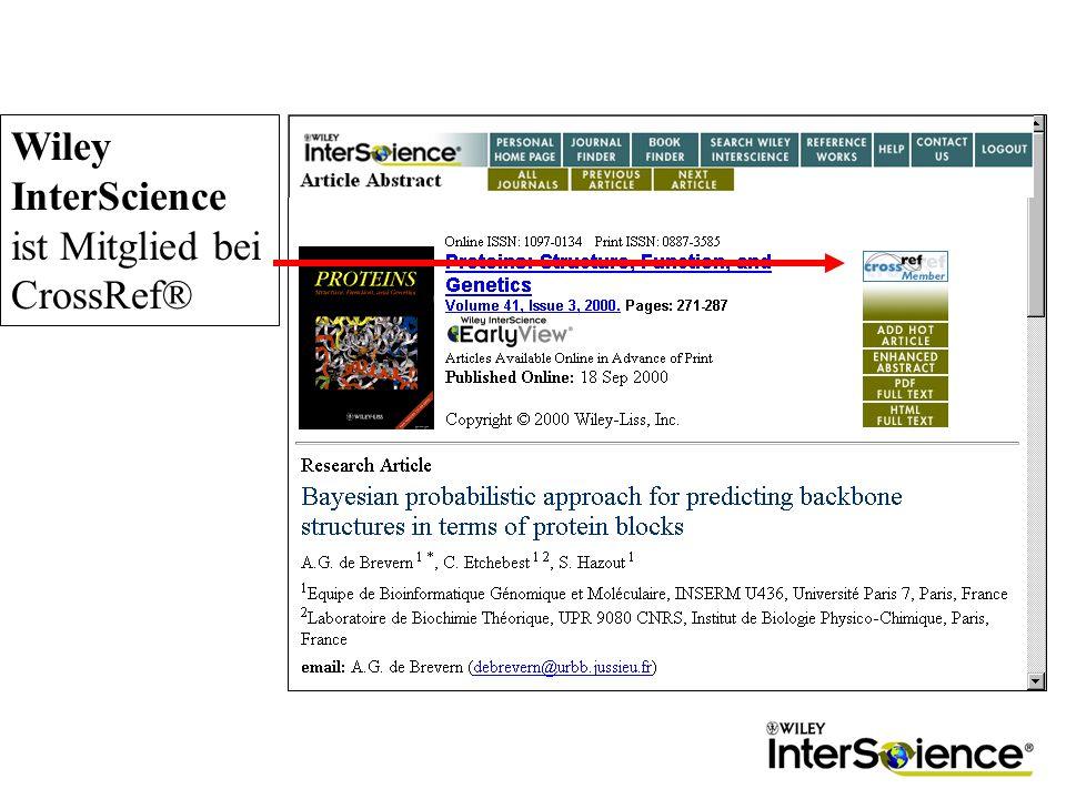 Wiley InterScience ist Mitglied bei CrossRef®