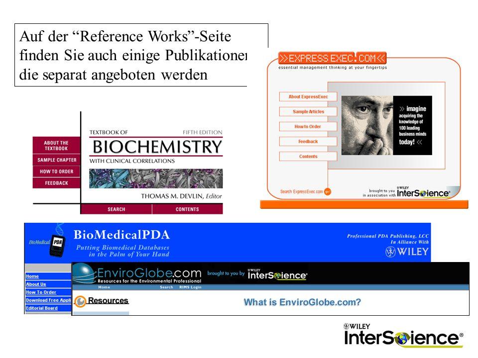Auf der Reference Works-Seite finden Sie auch einige Publikationen, die separat angeboten werden
